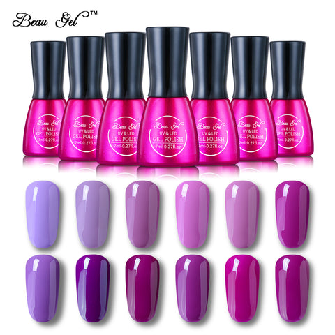Beau Gel Soak Off UV Gel Nail 7ml Gel Nail Polish Long Lasting 12 Color Nail Lacquer