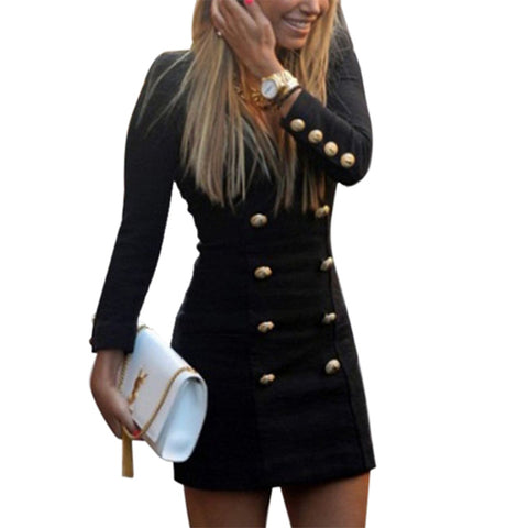 Double Breasted Buttons Sexy Long Sleeve V-Neck Mini dress