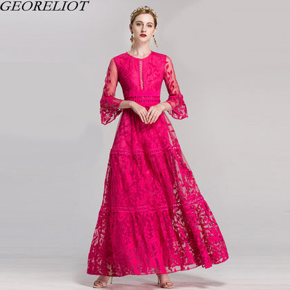 High Quality Long Lace Elegant  O-Neck Flare Sleeve Ball Gown Party Dresses