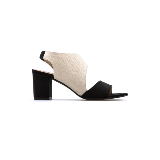 7ab30f4824b1 vegan sandals shoe mid heel ecofriendly Miley by Bourgeois Boheme Black  white Pinatex Piñatex ecofriendly