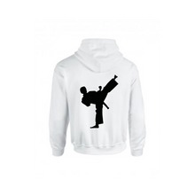 Le Karate White Zip Embroidered Hoodie