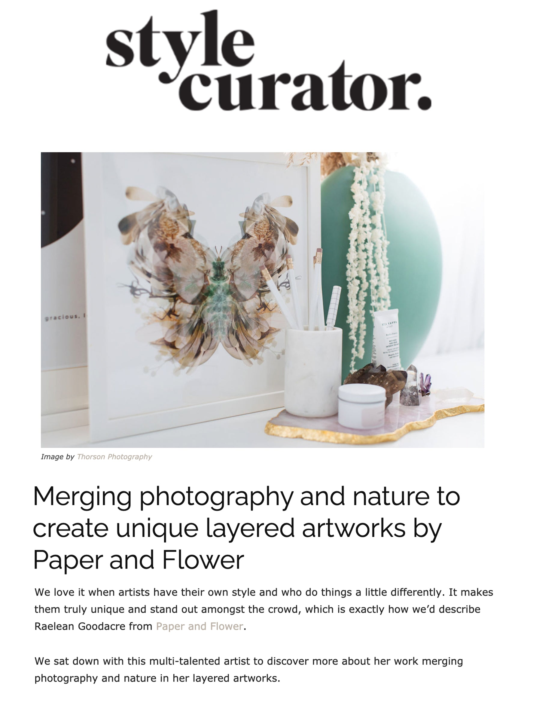 Style Curator Interview Paper and Flower