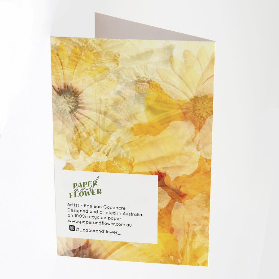 Daisy Garden Greeting Card Back | Paper and Flower Art
