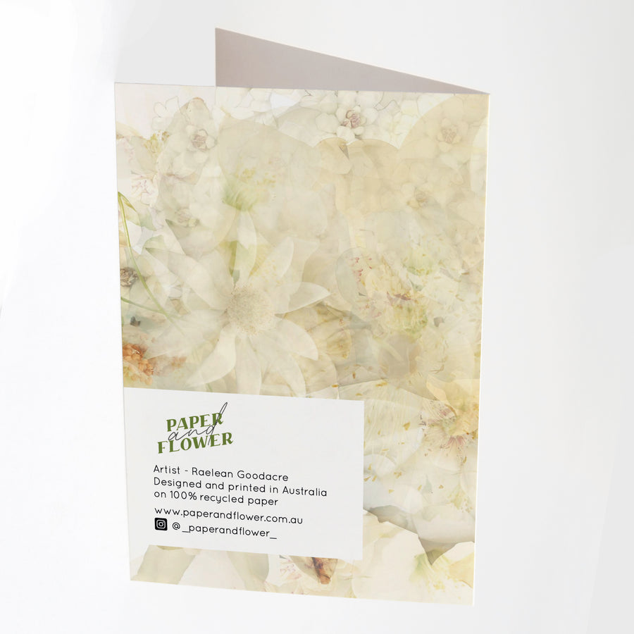 Freesia Garden Greeting Card Back | Paper and Flower Art