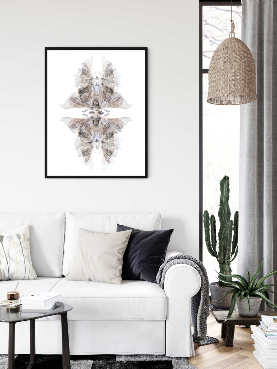 Blue Moth Pattern | Paper and Flower | Floral Art Print