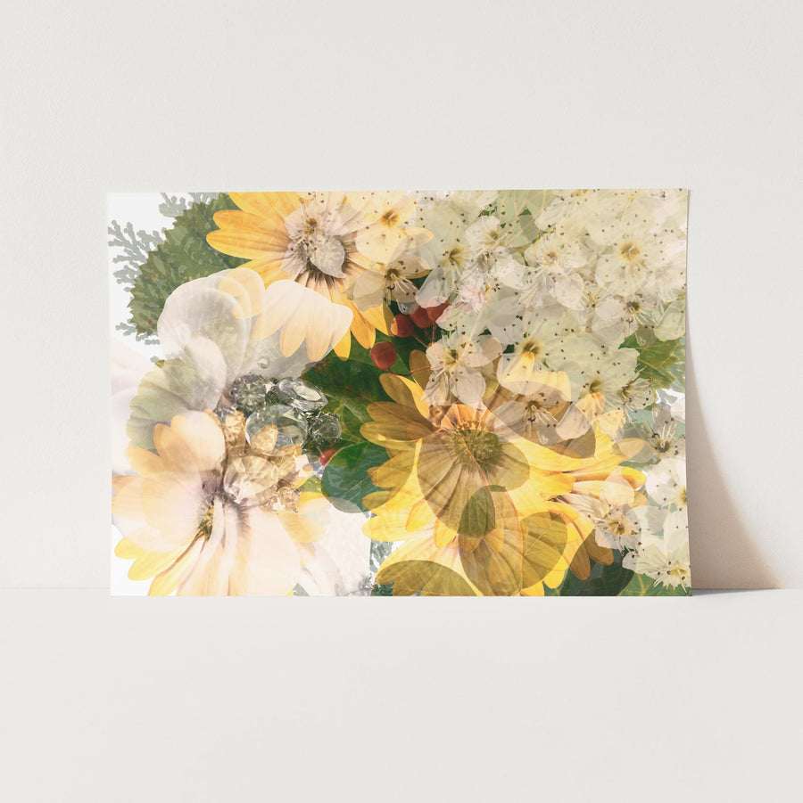Green Garden with Daisies Art Print on Paper | Paper and Flower Photographic Studio