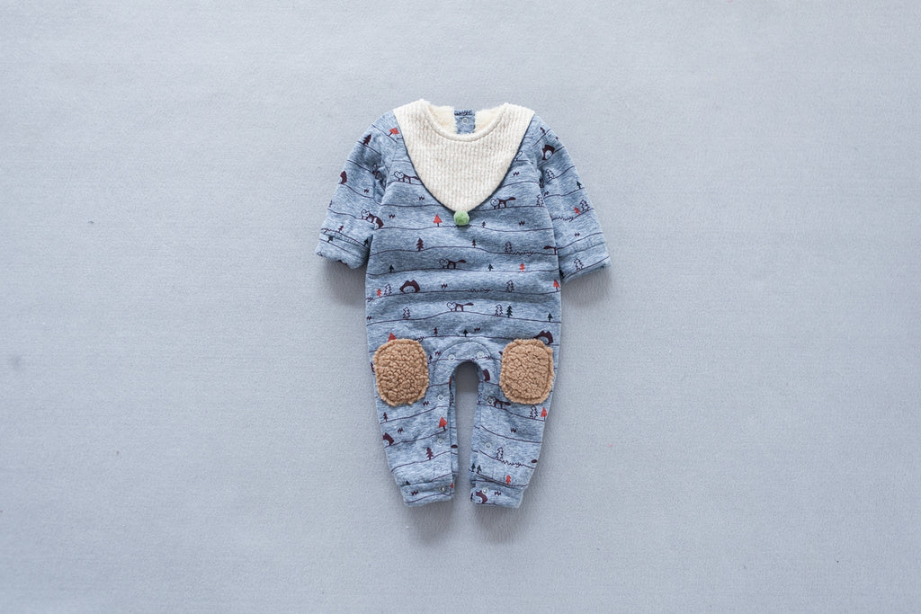 Baby Buttons Fleece Romper | Childlike Drawing Fleece Romper