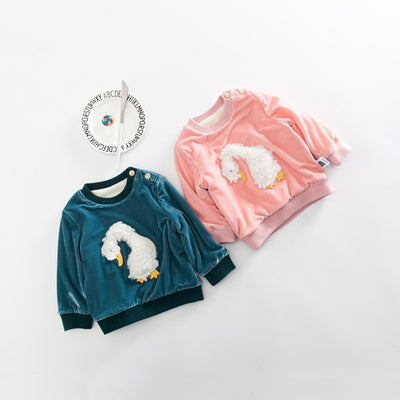 Baby Shirt | 3D Fluffy Swan Coral Fleece Shirt