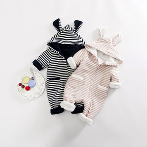 Baby Zip Romper | Textured Rabbit Ears Fleece Romper