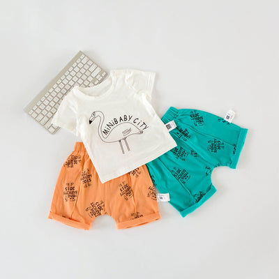 Baby Shirt And Shorts Set | Crowned Crane Shirt And Green Shorts