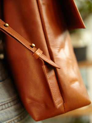 Handmade Tan Leather Backpack - BintikBintik