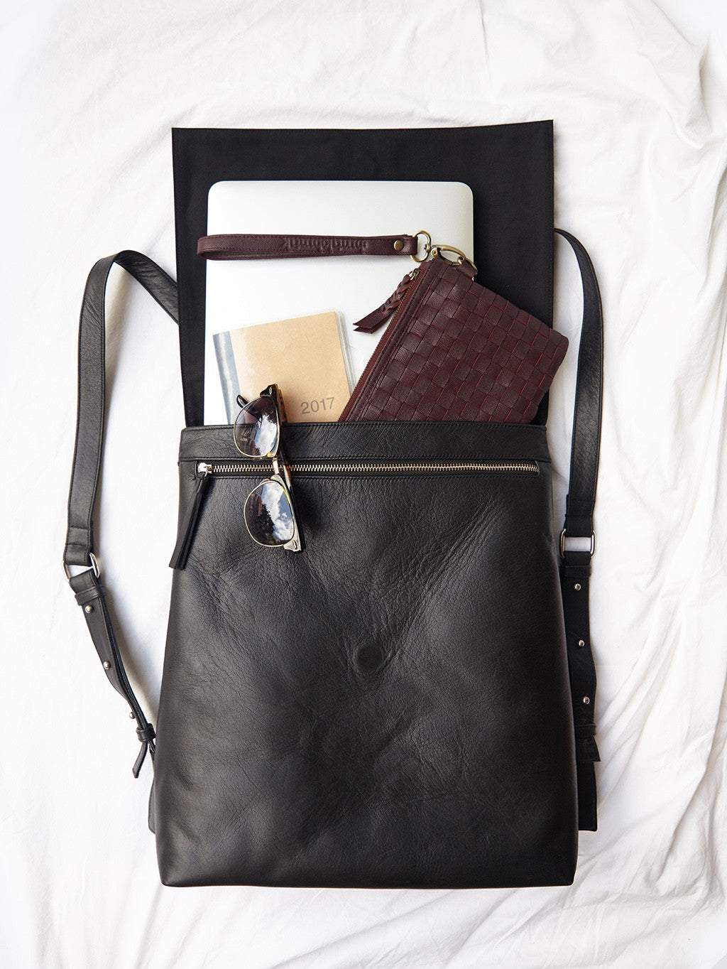Handmade Black Leather Backpack – BintikBintik 7a5b7d799f