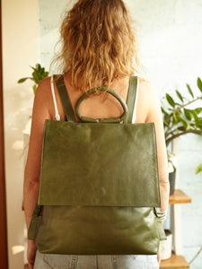 Handmade Army Green Leather Backpack - BintikBintik
