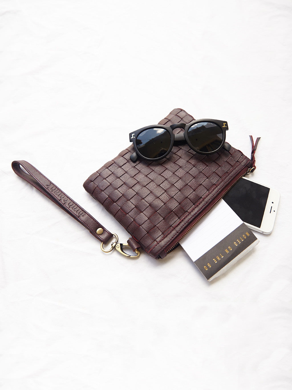 Maroon Woven Leather Wallet/Clutch - BintikBintik