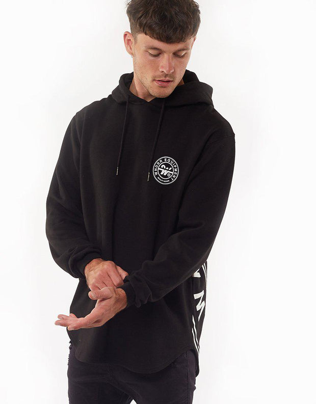 Clutch Curved Hem Hood Sweat Black