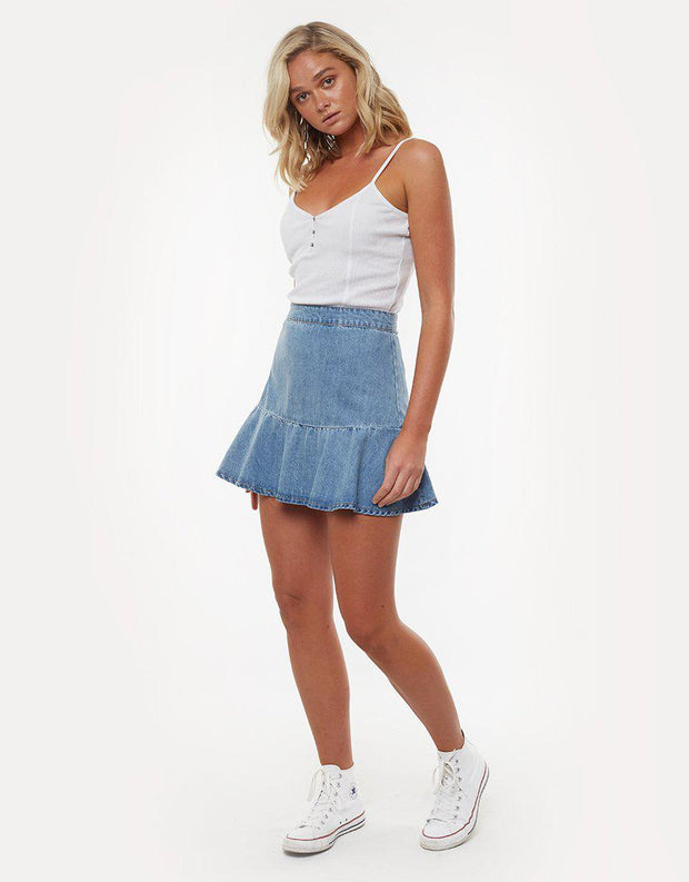 Havana Flippy Denim Skirt Bleach