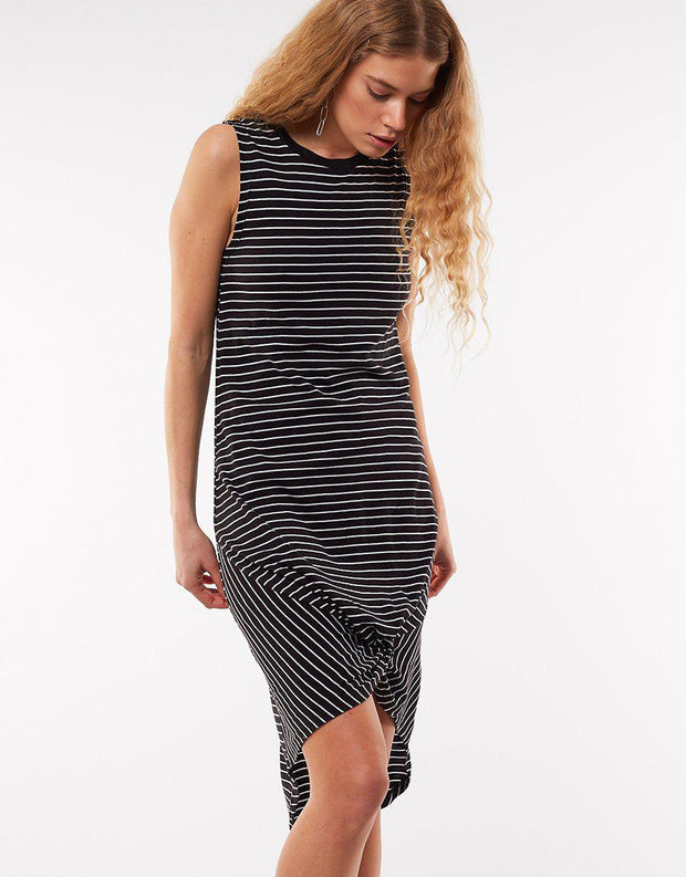Twisted Tank Dress Black And White Str