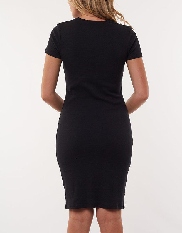 Ladders Rib Dress Black