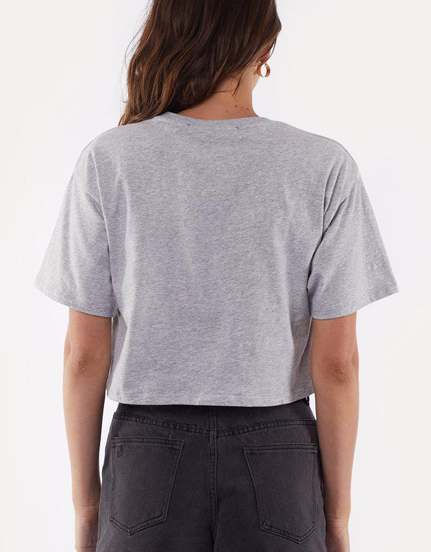 Falling Out Crop Grey Marle