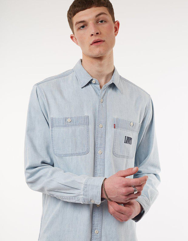 New Camp Overshirt Sun Bleached Indigo