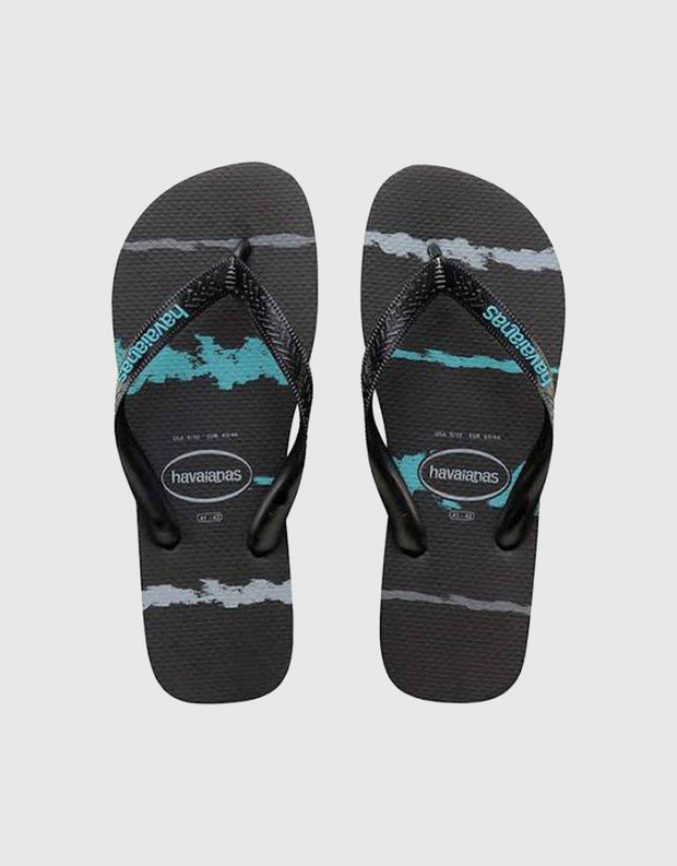 Kids Tropical Glitch Thong Black/blue