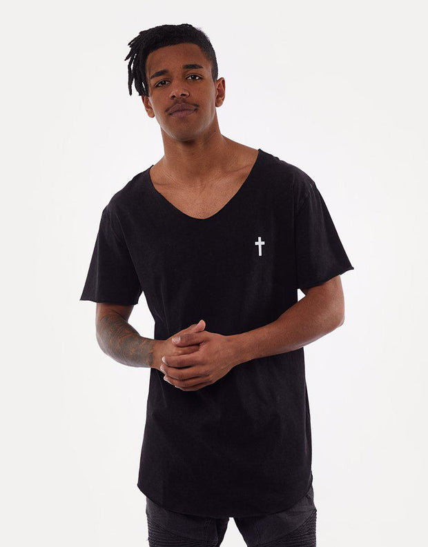 Bad Ending Raw V Neck Tee Acid Black