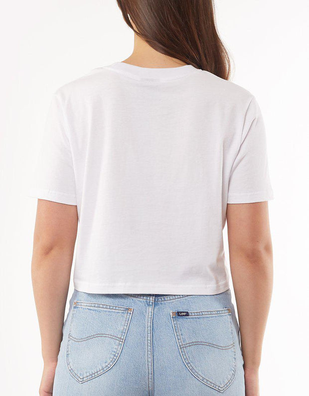 Classic Crop Tee White Fire