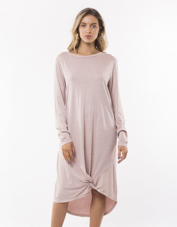 Long Sleeve Twisted Tee Dress Pink