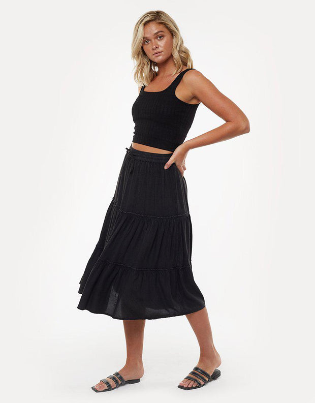 Claudia Midi Tiered Skirt Black