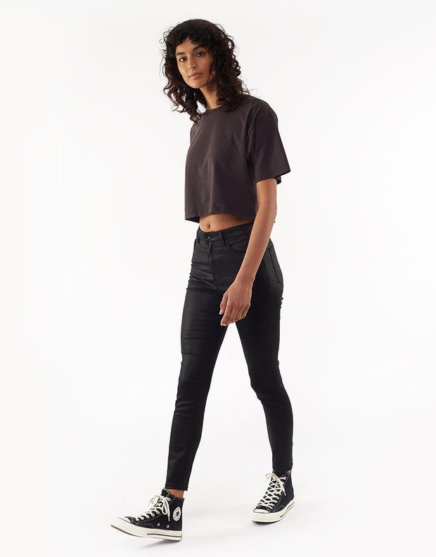VICE HIGH SKINNY JN COATED BLK