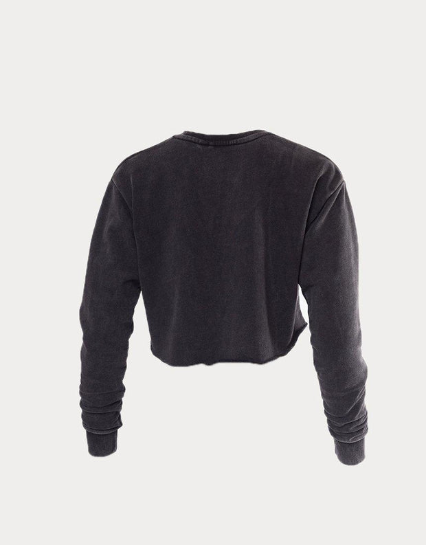 Script Cropped Crew Washed Black