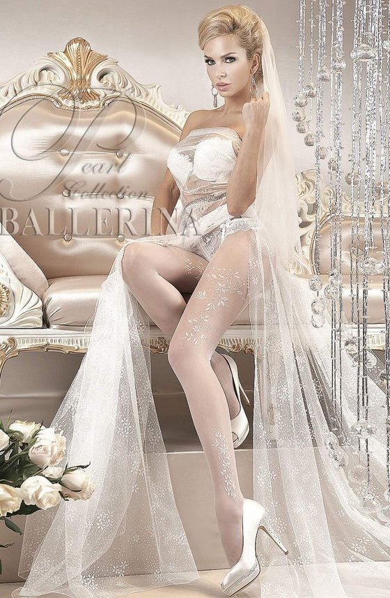 114 Tights in Bianco (White) by Ballerina - Ballerina - Katys Boutique Lingerie USA