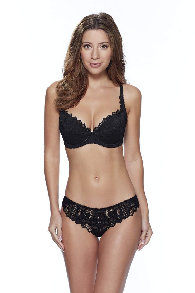Fiore Thong in Black by Lepel - Charnos / Lepel - Katys Boutique Lingerie USA