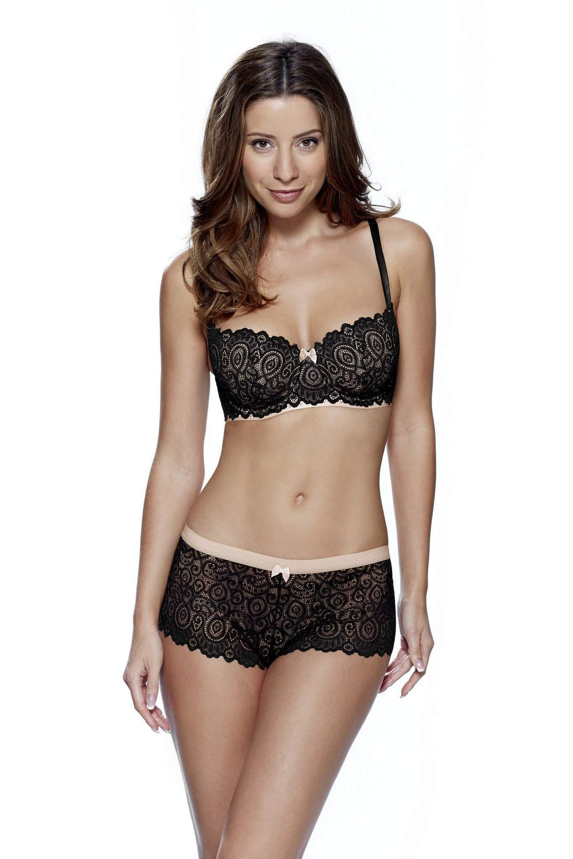 Matilda Balcony Bra in Black/Nude by Lepel - Charnos / Lepel - Katys Boutique Lingerie USA
