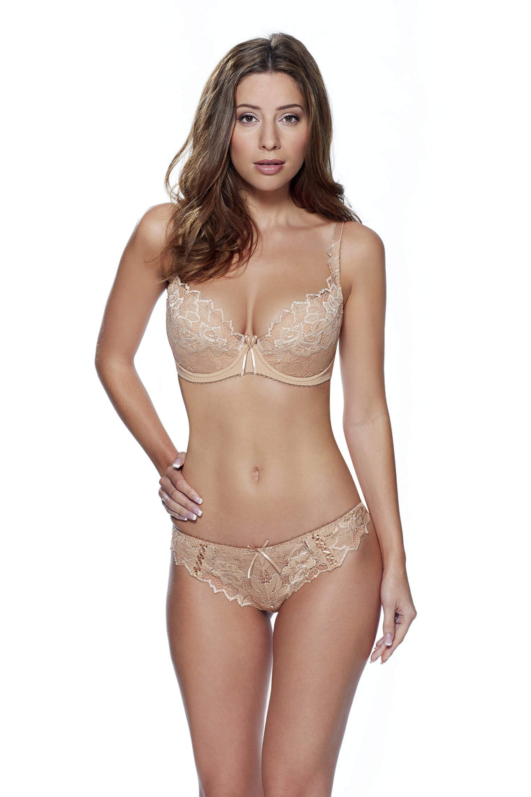 Fiore Plunge Bra in Nude by Lepel - Charnos / Lepel - Katys Boutique Lingerie USA