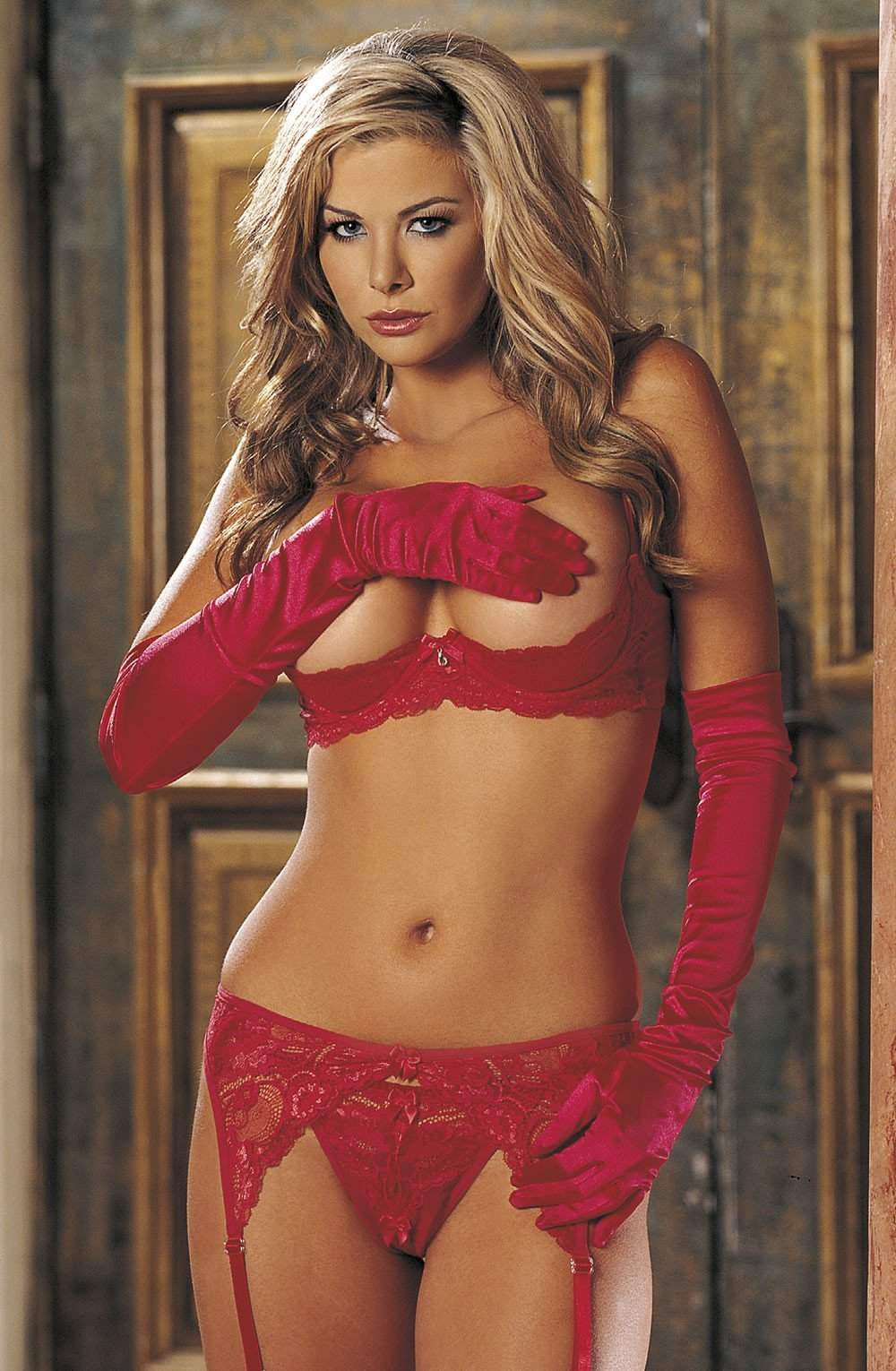 SoH Classic Lace Shelf Bra - Red - Shirley of Hollywood - Katys Boutique Lingerie USA