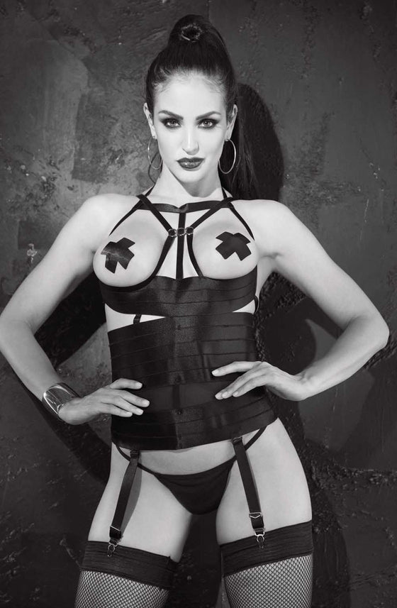 SoH 26944 - Bustier open bust w/cross pasties by Shirley of Hollywood - Shirley of Hollywood - Katys Boutique Lingerie USA