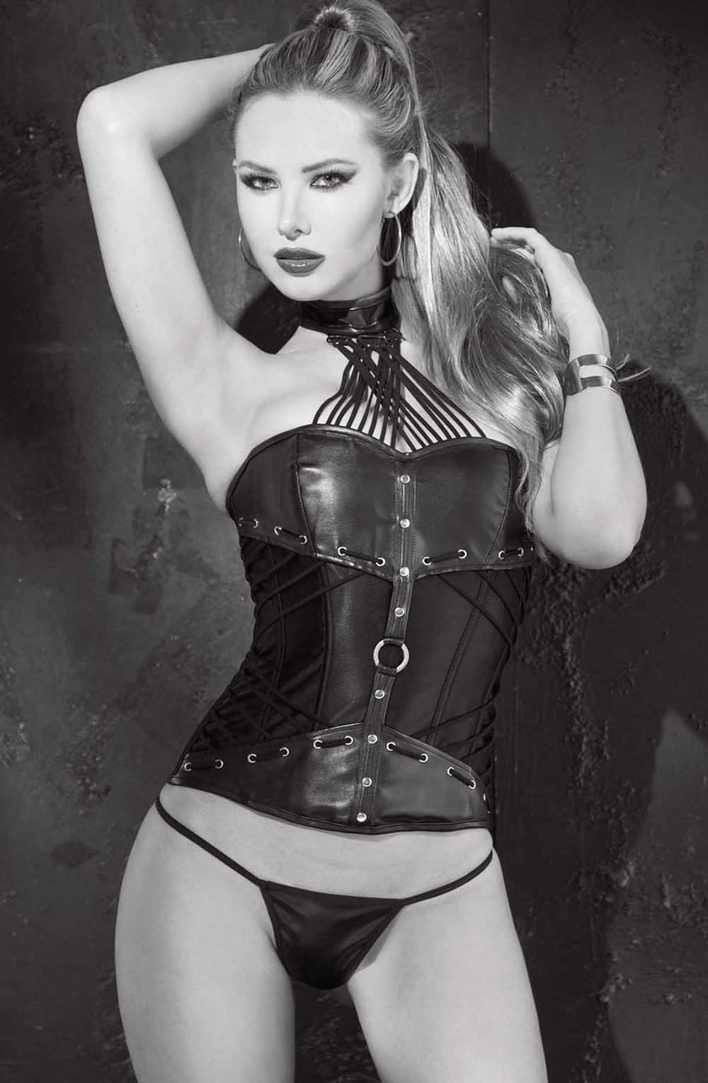 SoH 31066 - Corset Faux leather w/strappy neck by Shirley of Hollywood - Shirley of Hollywood - Katys Boutique Lingerie USA