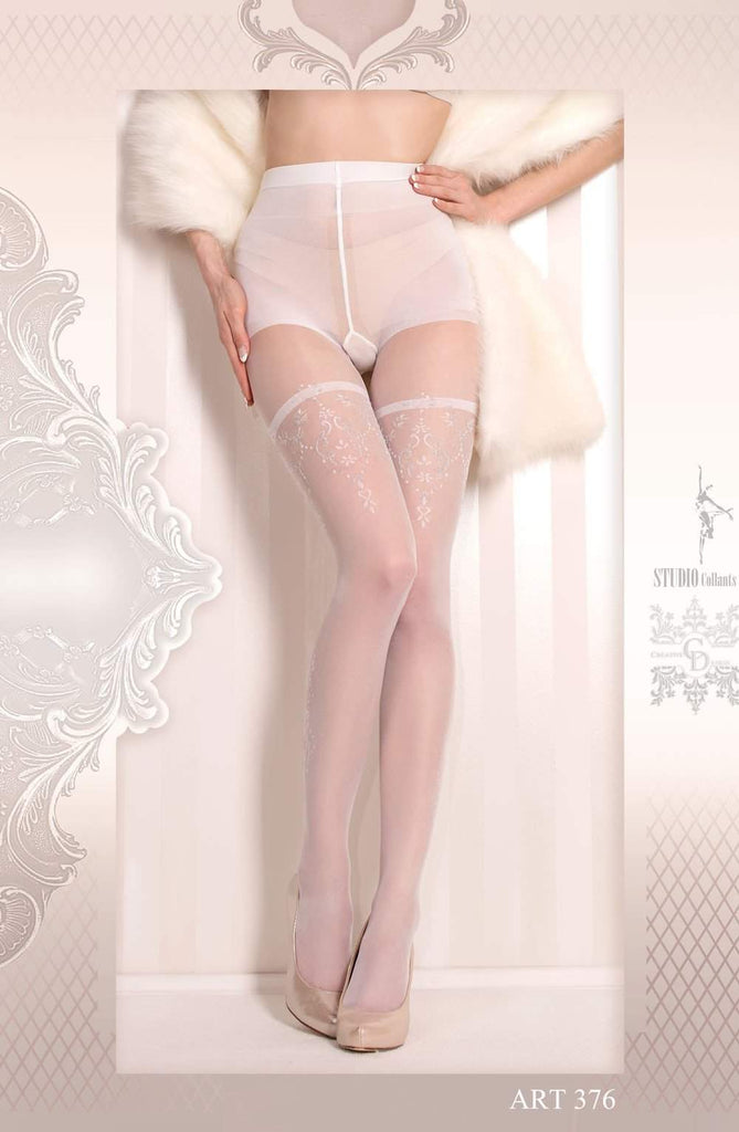 Ballerina 376 Tights Bianco (White) - Ballerina - Katys Boutique Lingerie USA