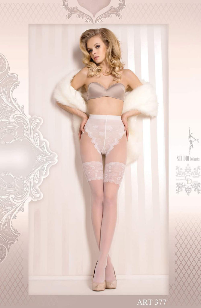 Ballerina 377 Tights Bianco (White) - Ballerina - Katys Boutique Lingerie USA