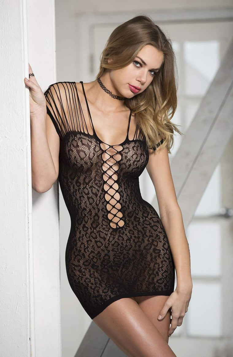 SoH-HS X90381 Stretch Fishnet Chemise Black - Shirley of Hollywood - Katys Boutique Lingerie USA