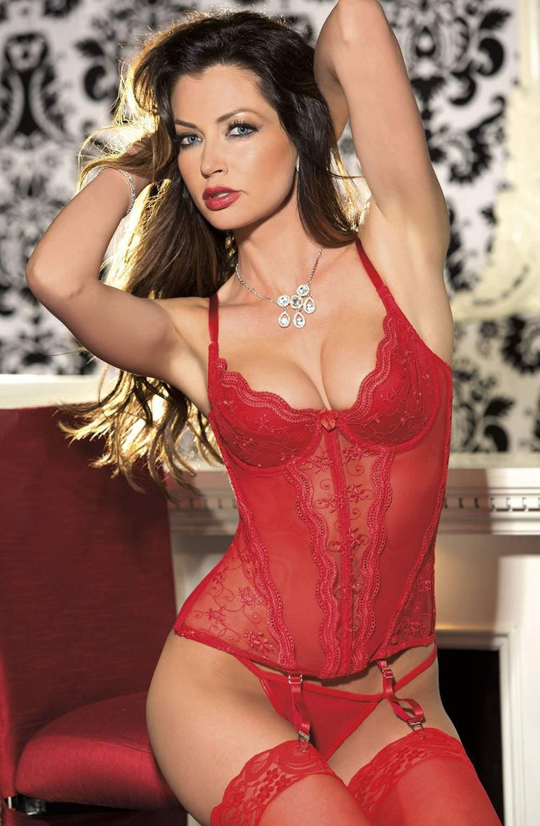 9407 Corset in Red by Shirley of Hollywood - Shirley of Hollywood - Katys Boutique Lingerie USA