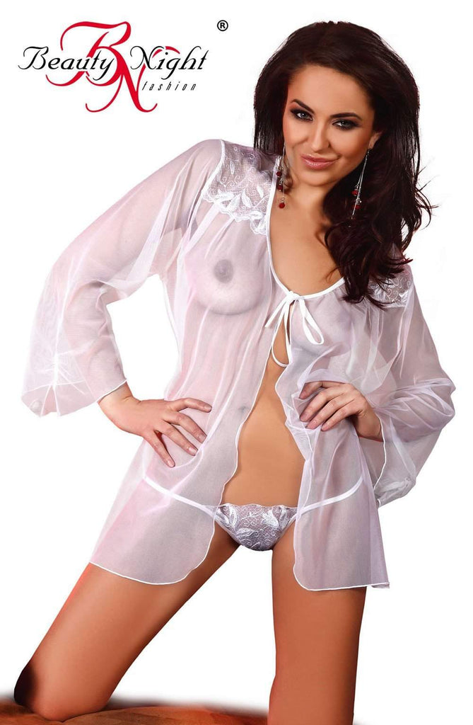 Beauty Night Claudia Peignoir White - Beauty Night - Katys Boutique Lingerie USA