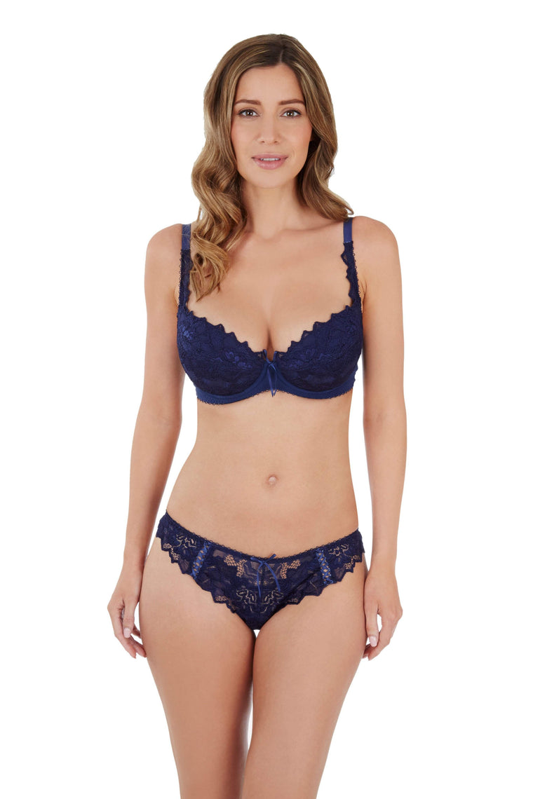 Fiore Plunge Bra in Navy by Lepel - Charnos / Lepel - Katys Boutique Lingerie USA