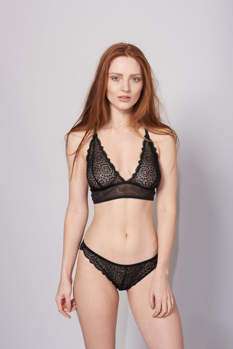 Sophia Brazilian Brief in Black by Lepel London - Charnos / Lepel - Katys Boutique Lingerie USA
