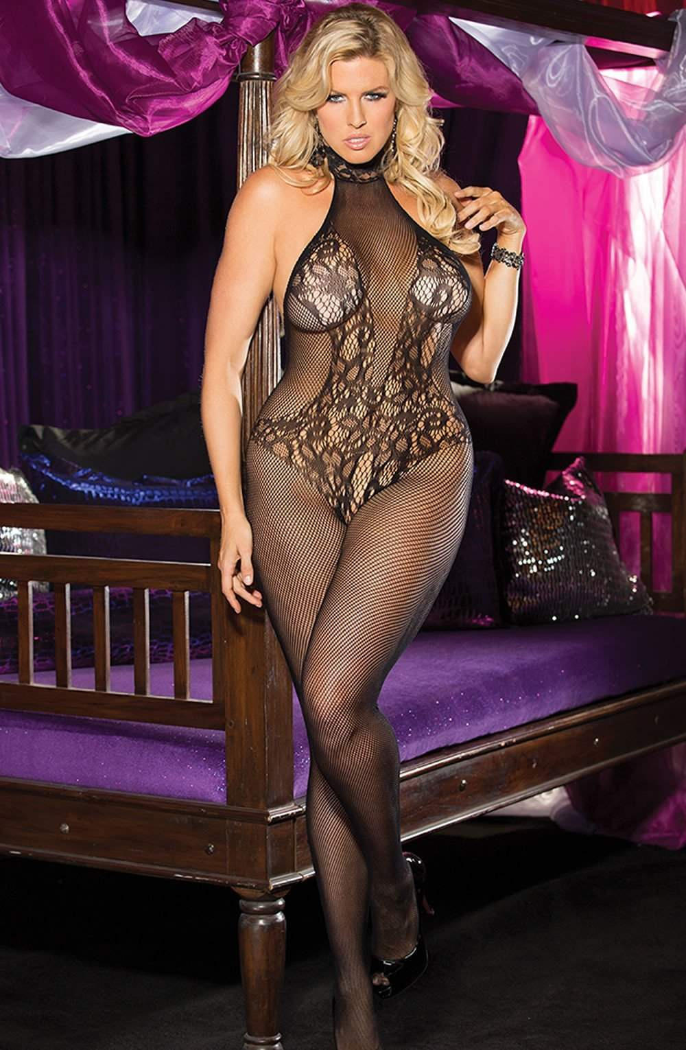 SoH-HS X90357 Bodystocking Black - Shirley of Hollywood - Katys Boutique Lingerie USA