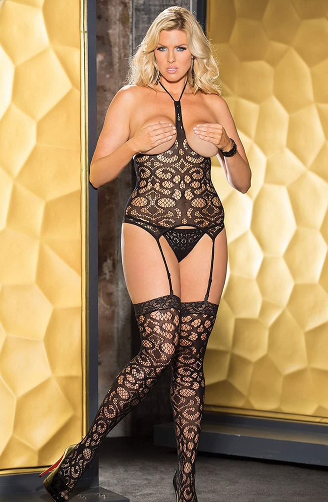 SoH-HS X90371 Fishnet Top Black - Shirley of Hollywood - Katys Boutique Lingerie USA