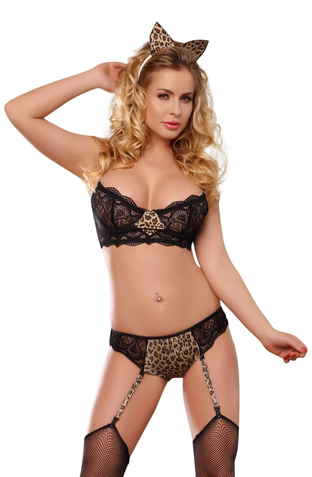 YesX YX143 Leopard / Black / Animal Print - YesX - Katys Boutique Lingerie USA