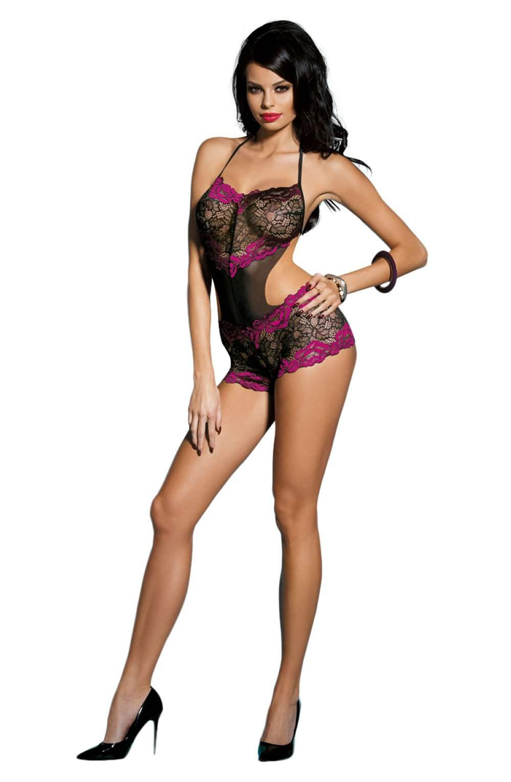 YX224 Teddy in Black/Rose by YesX - YesX - Katys Boutique Lingerie USA