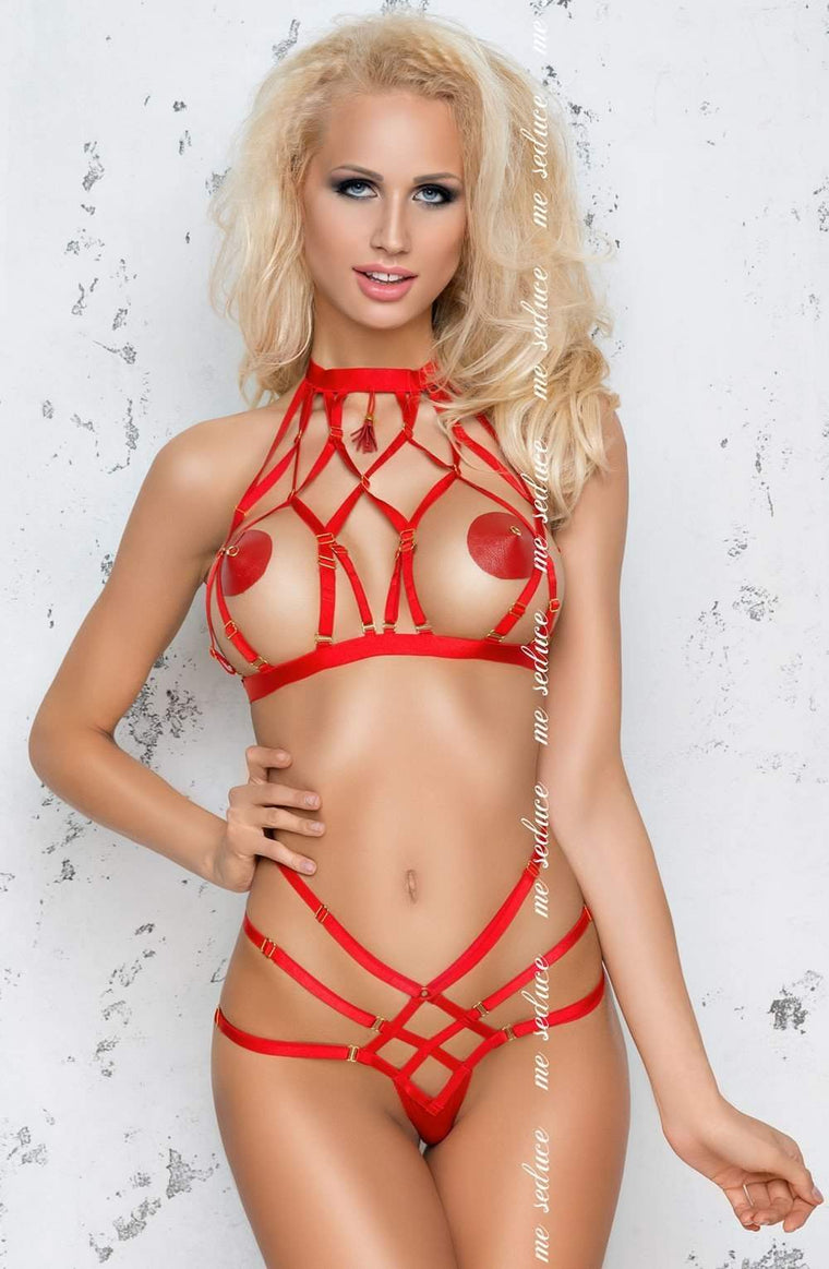 Aisha Set in Red by Me Seduce - Me Seduce - Katys Boutique Lingerie USA